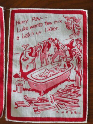 SET OF 8! FUNNY! Vintage Cloth HILLBILLY MOONSHINE