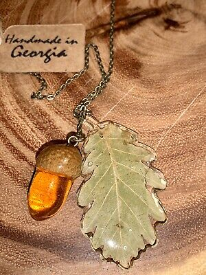 Real Oak Tree Acorn And Leave Handmade Fashion Necklace Made In Georgia(country)