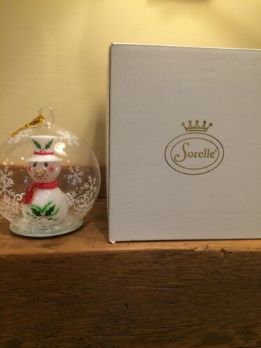 Sorelle SNOWMAN Globe Ornament Hand Blown Multi Colored Lights NEW WITH BOX