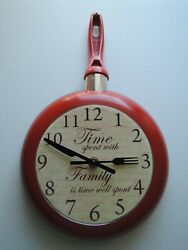 Clock Frying Pan Unique Gifts Kitchen Stylish Wall Hand Made Each One Different