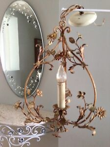 Antique French country iron tole chandelier