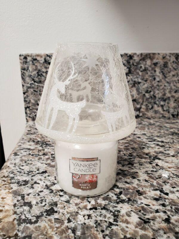 EUC! Yankee Candle Holiday Crackle Glass Small Jar Shade w/ NEW North Pole Jar
