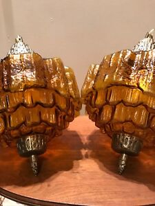 Pair of vintage / Retro swag lamps amber glass