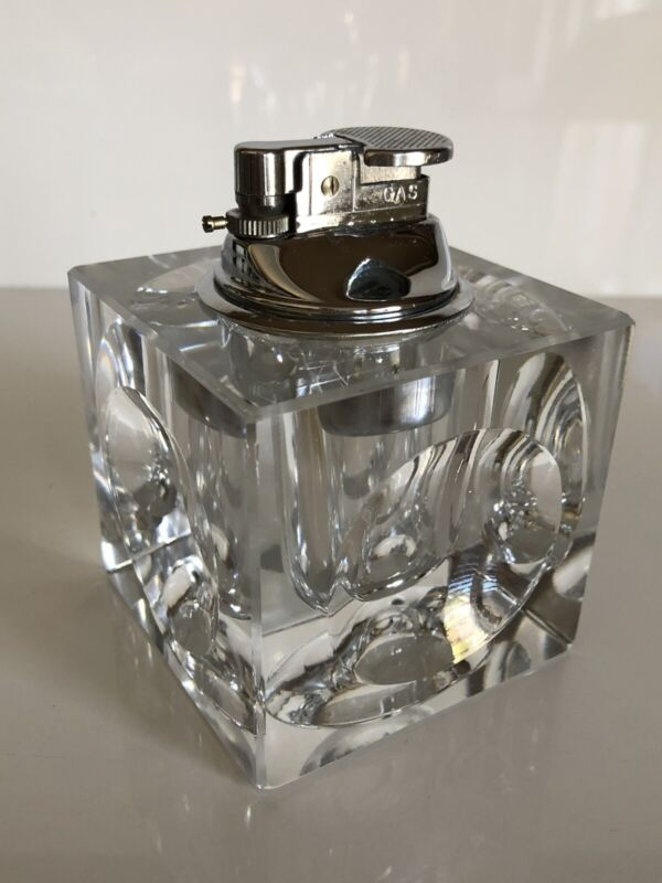 Stunning Mid Century Modern Retro Cut Glass Square Table Lighter Made in Japan