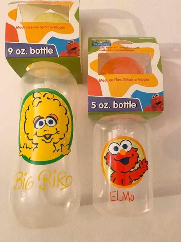 SESAME STREET Baby Bottle Set Of 2 , 9oz. and 5oz BPA Free & Phthalate  Reg.