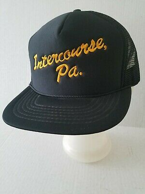 INTERCOURSE PA Hat Cap black gold mesh snap-back pre-owned accessories clothing