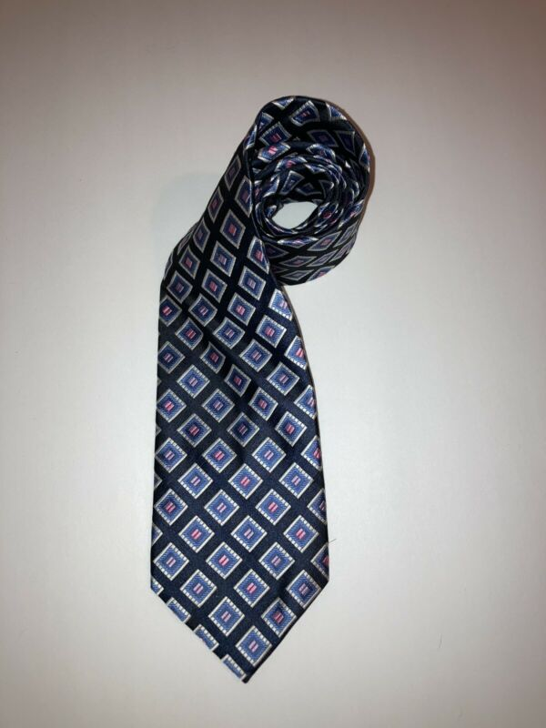 Screenplay Men's Tie Black Blue Pink Squares