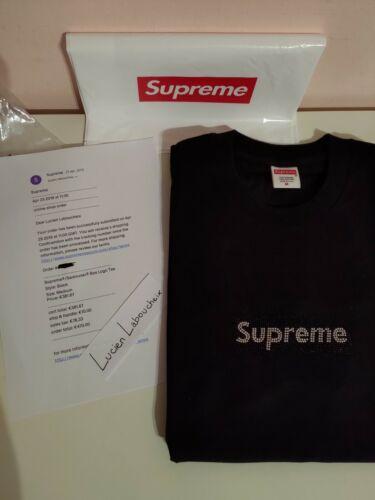 T shirt supreme x swarovski black m ds box logo