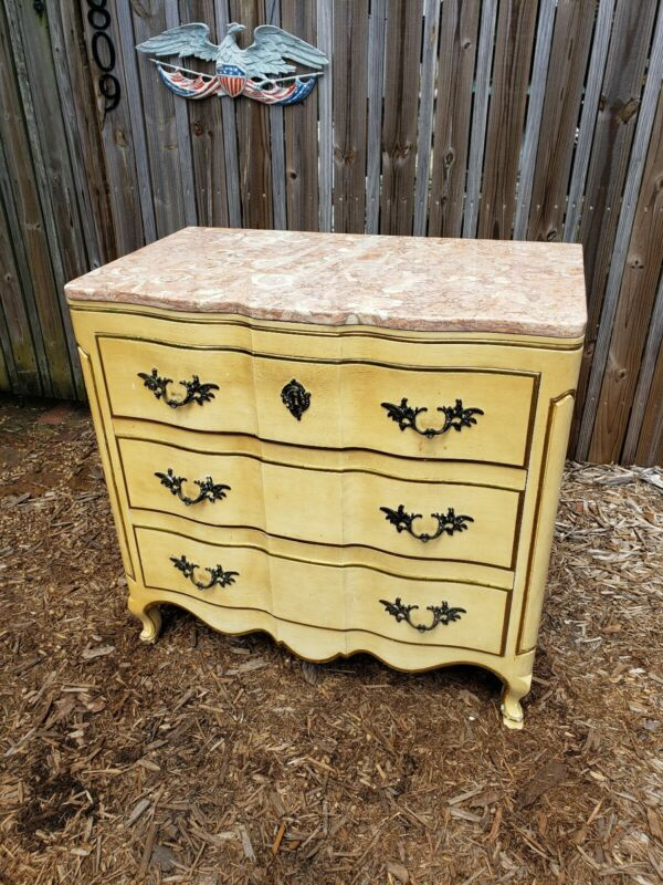 """John Widdicomb French Provincial 36"""" Marble Top Commode or Chest of Drawers"""