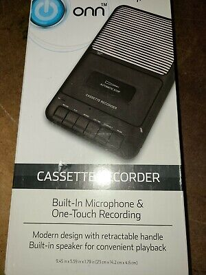 ONN Cassette Recorder with  External Microphone & One Touch Recording