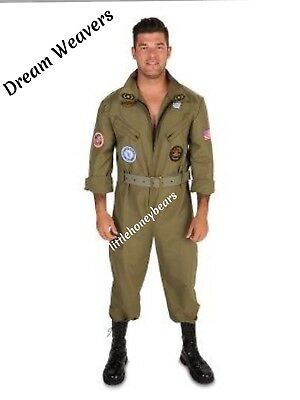 MILITARY WING MAN AIR FORCE ADULT HALLOWEEN COSTUME MEN'S PLUS SIZE 1X - Green Man Halloween Costume