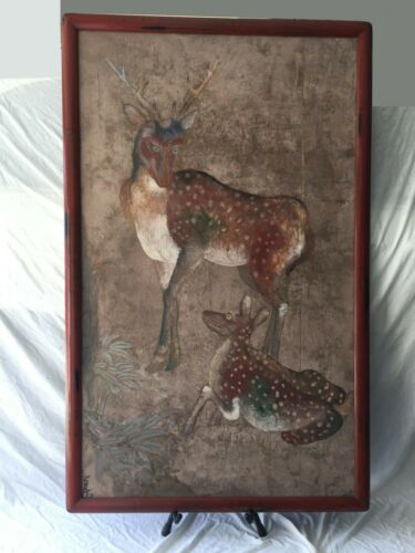 Extremley Large antique Japanese screen painting two fawns