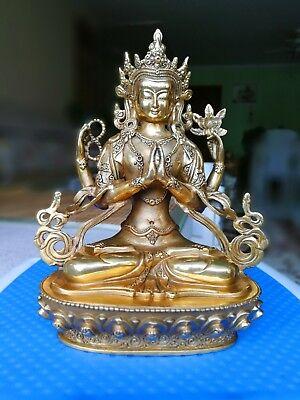 Tibet Buddhism bronze Bodhisattva Four-armed Avalokiteshvara Buddha Statue