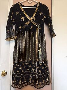 Needles by shalimar black and golden net dress