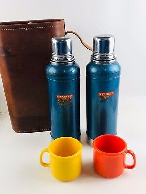 2 Vintage Blue Stanley Stainless Steel Super Vac Thermos Cork Top 1948 Leather