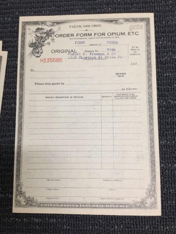 1915 Order Form For Opium - Medicine - Unused