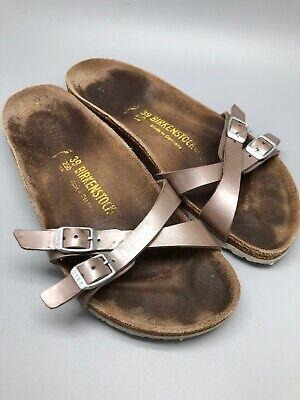 Womens Two Strap Birkenstock Sandals Size 39 Narrow Filled In Criss Cross  Womens Two Strap