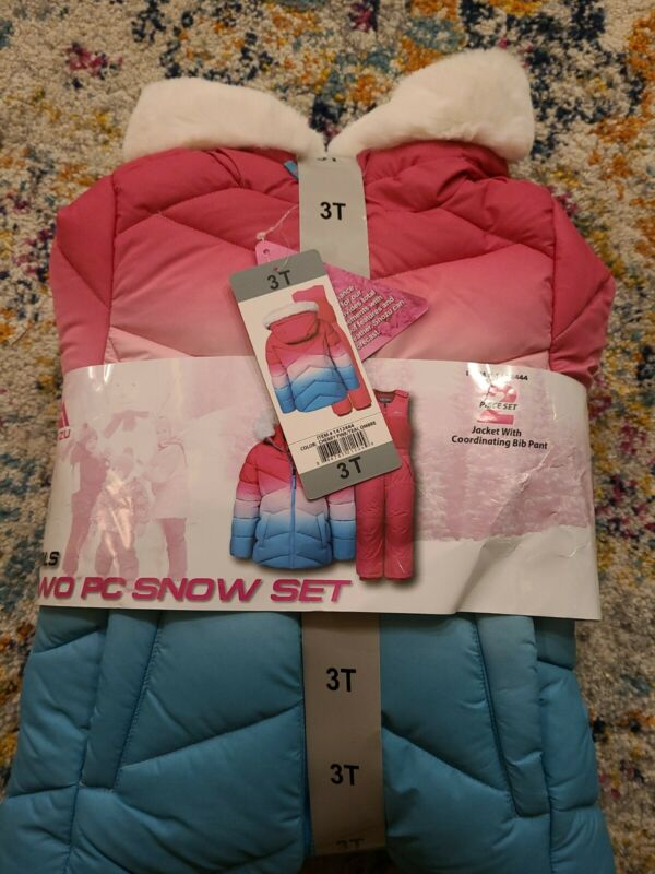 NEW SNOZU GIRLS WINTER COAT & BIB PANT SET SKI/BOARDER SNOW SET SNOWSUIT 3T