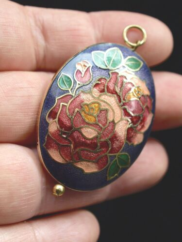 Vintage Chinese Cloisonné Enamel Double Sided Oval Pendant Roses Purple 40mm