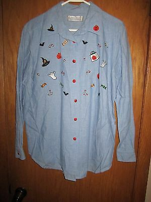 Karen Scott Ladies Halloween Applique LS Blouse w/ Pumpkin Buttons Sz L EUC](Karen Halloween Costume)