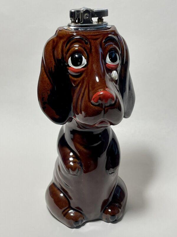 Vintage Figural Cigarette Table Lighter Ceramic Sad Puppy Eyes Dog Made in Japan
