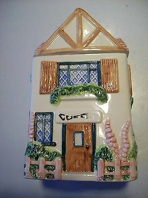 Victorian Cottage Gardens - OCI Coffee Victorian Cottage Garden House Home Canister Pink Roof Fence @ cLOSeT