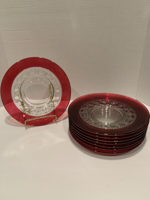 """8 Kings Crown Thumbprint Ruby Red Flash salad Luncheon Plates 8 3/8"""" Mint!"""