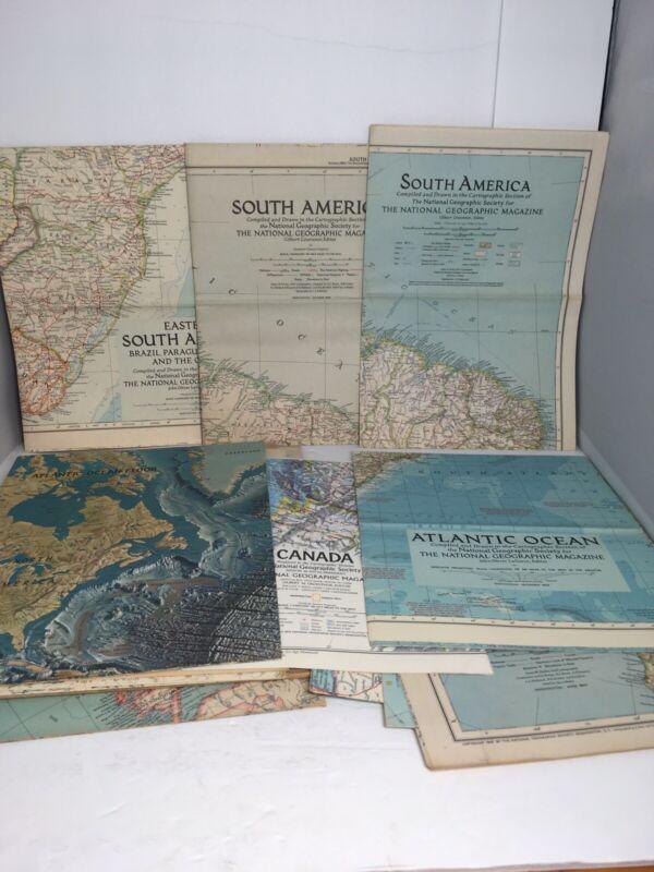 Lot Of 20+ Vintage National Geographic Magazine Insert Maps