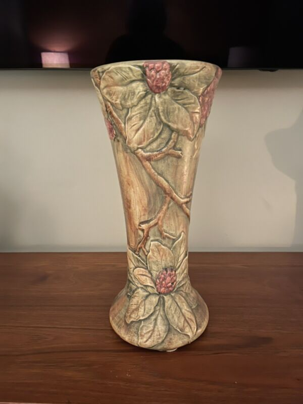 Vintage Weller Pottery Rhododendrons Vase Flemish Finish Beautiful