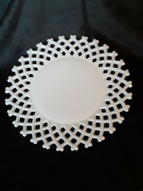 "Vintage Westmoreland Milk Glass Open Lattice 11"" Serving Plate WG Imprint, Mint!"