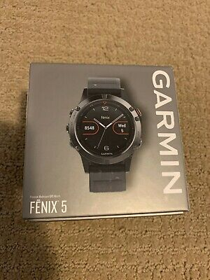 Garmin Fenix 5 Premium Multisport GPS Watch, 47mm, Slate Gray w/ Black Band.