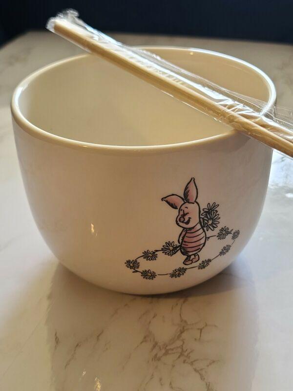 Disney Winnie The Pooh Daisy Chain HTF Piglet RAMEN BOWL/CHOPSTICKS New No Tags