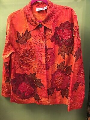 Chico's 1 2  3 Orange Silk LS Embroidered Jacket EUC