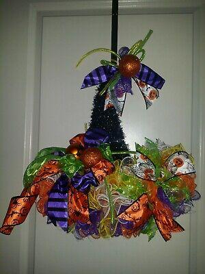 Halloween Mesh Decorations ( Halloween Witch Hat Wreath Mesh Handmade Door)