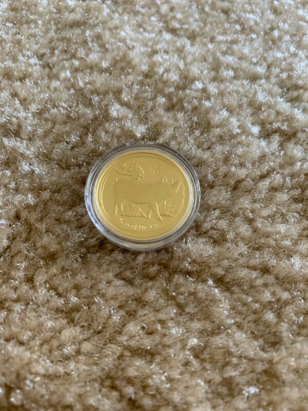 2019 Perth Mint Gold Coin Lunar Pig series-2 1/4 Oz $25  BU Rare In Capsule