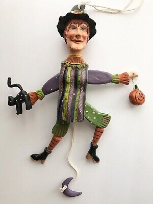 "HALLOWEEN WITCH LARGE JUMPING JACK PULL TOY 14"" PEGGY FAIRFAX HERRICK 1997"