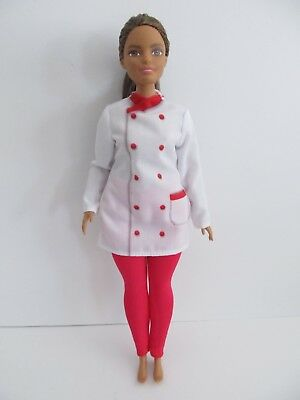 Mattel Barbie Fashionista Neysa Curvy Body Ethnic Doll Chef Clothes Brown Hair