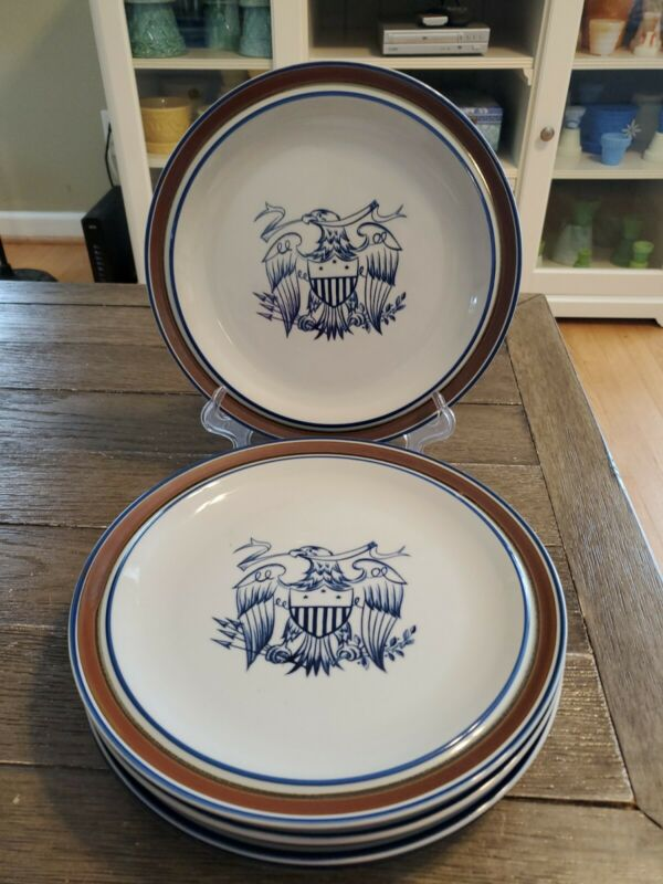 "Vintage 5 Salem Stoneware Georgetown Eagle Dinner 10""  Plates Patriot Flag USA"