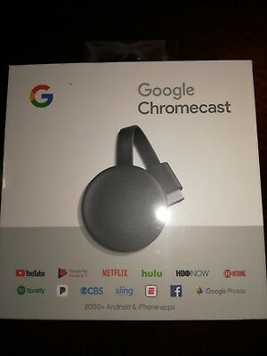 Google Chromecast 3rd Gen Digital HDMI Media Streaming (2018 Newest Version) New