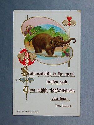 Vintage Postcard:  Elephant by John Geyer 1910