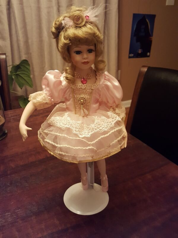 """Beautiful """"Giselle"""" Collectible Memories Porcelain Ballerina Doll 16 inch stand,"""
