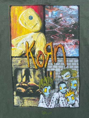 VTG Korn Issues Double Sided T-Shirt Giant Green Size XL Everybody