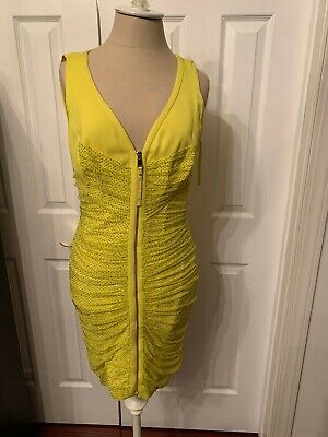 $2,500 Versace Yellow Crystal Embellished Mini dress size 44
