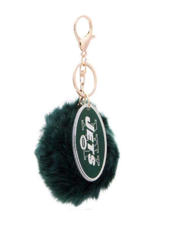 New York Jets Cuce Green Faux Fur Pom Bag Charm and Keychain