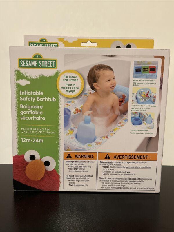 Sesame Street Inflatable Safety Bathtub 30.5 x 20.5 x 7 In Blue  White
