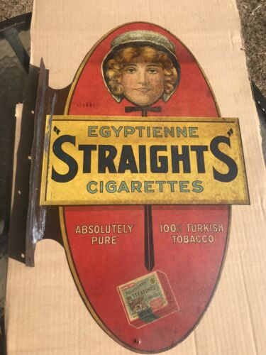 """VERY RARE,1907  AUTHENTIC ORIGINAL EGYPTIENNE """"STRAIGHTS"""" CIGARETTE FLANGE Sign"""
