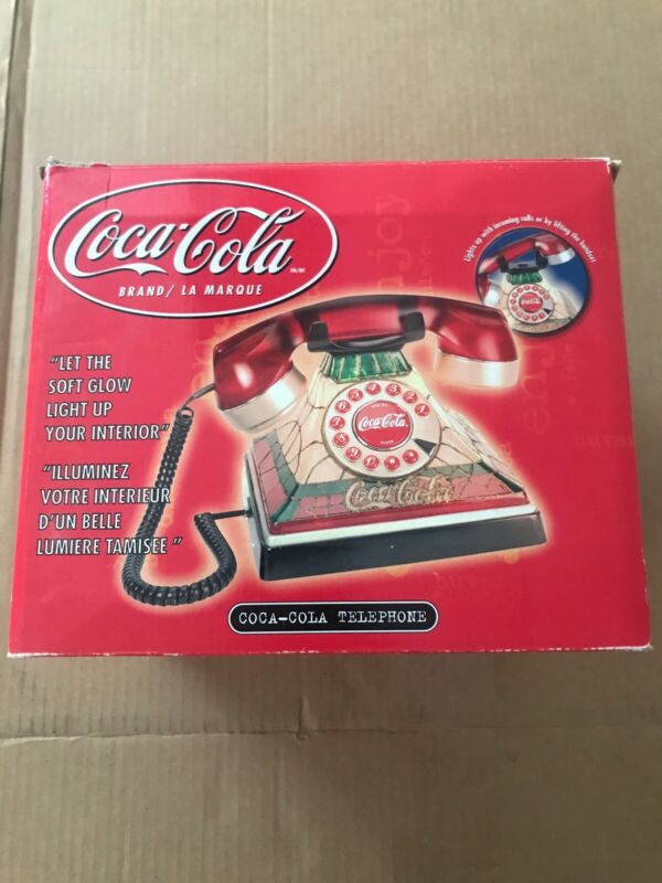 Coca-Cola Stained Glass  Telephone Lighted Up Phone Push Up Button