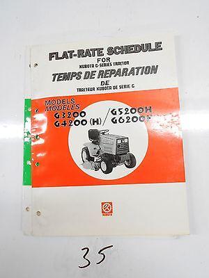 Kubota G3200 G4200 G4200h G5200h G6200h Tractor Flat-rate Schedule Manual 386