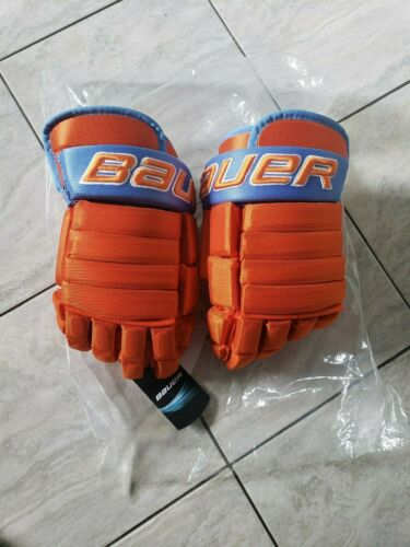 New Bauer 95 Giants pro stock hockey gloves, 14s, baby blue and orange