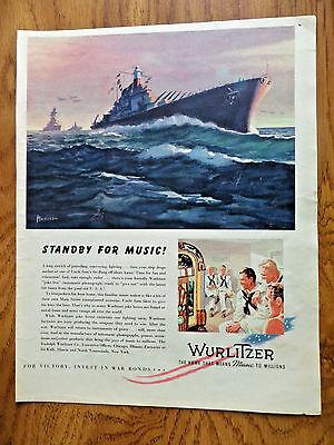 1943 Wurlitzer Music Ad  Patrolling Convoying Fighting Ships